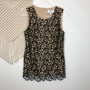 Lela Rose Black & Tan Career Tank Top Blouse Sz S